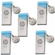HP v215b 5 Pcs 32 GB Pen Drive(Silver, Blue)