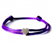 Caviar Collection Armband Neon Purple X Heart Silver