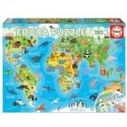 Детски пъзел EDUCA 150 части, 18115 Световна карта на животните, 8412668181151