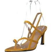 NA-KD Flippi Strap Heels Yellow, Skor, Klackskor, Lågklackade sandaletter, Brun, Orange, Dam, 36