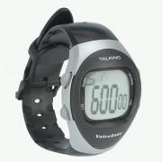 Ceas vorbitor, de mână, în limba engleză, din plastic, cu cronometru şi afişaj digital