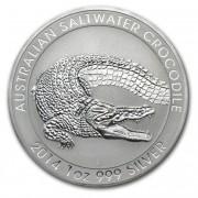 Stříbrná mince 1 AUD Australian Saltwater Crocodile (Krokodýl Mořský) 1 Oz 2014
