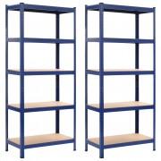 vidaXL Стелажи за съхранение, 2 бр, сини, 80x40x180 см, стомана и МДФ