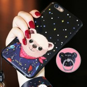 AIQAA for iPhone 6 & 6s Cartoon Lucky Bear Pattern Soft TPU Protective Back Case Cover with Ring Holder (Black)