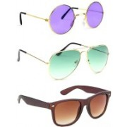 Elligator Round, Aviator, Wayfarer Sunglasses(Violet, Green, Brown)