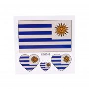 Banderas Tatuajes Temporales De La Bandera Nacional Olímpico Uruguay-Multicolor