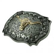Electroprime® Men's Embossed Golden Longhorn Bull Head Art Design Cowboy Style Belt Buckle