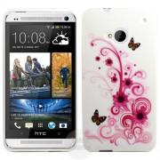 HTC One M7 White Butterfly Силиконов Калъф + Протектор