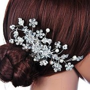 Pixnor Hair Pin Bridal Hair Comb for Wedding Crystal Rhinestones Pearls Decor(Silver)