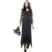 Halloween Costume Women Lace Chiffon Black Dress Ghost Bride Clothes Cosplay Game Uniforms Size: L Bust: 80cm Waistline:72cm Clothes Long:143cm -HC6241