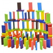 Wooden Tumbling Stacking Jenga with 4 Dice for Adults and Kids. (Random Colour)