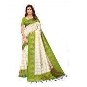 Indian Beauty Women's Green Color Mysore Silk Printed Saree Border Tassels With Blouse Piece(WEDDING-PATTA-GREEN_Free Size)