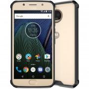 Para Motorola Moto G5s Plus Transparente TPU Protector Antichoque Volver Funda (negro)