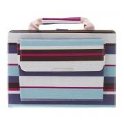 Stripe Pattern Handbag Leather Tablet Cover Wallet Case for Apple iPad 10.2 (2019) - Blue