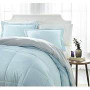 ienjoy Home Juego de sábanas, Reversible, Gris, Aguamarina (Aqua/Light Gray), Individual, 1