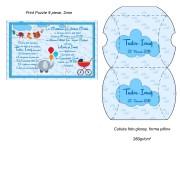 Invitatie Puzzle Albastru