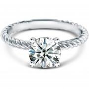 Anillo de compromiso de oro blanco de 14Kt con diamante natural de .23ct