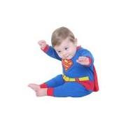 Fantasia Macacão Super Homem Bebê Infantil Sulamericana Fantasias Azul/Vermelho P-3 Meses