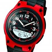 Reloj Casio Aw-80 Telememo 30 50 Mts. . Pila 10 -Rojo Con Negro