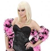 Merkloos Roze met zwarte veren boa 180 cm