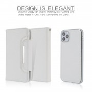 Litchi Texture Detachable Leather Wallet Cover Phone Case for iPhone 11 Pro Max 6.5 inch - White