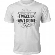 Men's Slogan Collection I Wake Up Awesome Heren T-Shirt - Wit - S - Wit