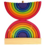 Grimm's Double Rainbow Stacking Tower - Large Wooden Waldorf Stacker