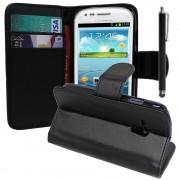 Samsung Galaxy S3 Mini I8190/ I8200 Ve: Etui Portefeuille Livre Housse Coque Pochette Support Vidéo Cuir Pu + Stylet - Rose