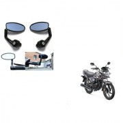 Kunjzone Premium Quality Motorycle Bar End Mirror Rear View Mirror Oval for Honda CB Shine Self-Drum