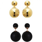 Chrishan high gold plated designer alloy combo of pearl stud earring set for women and girls.