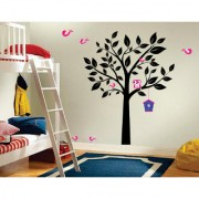 EJA Art cute Black tree pink owl bird 3 Wall Sticker (Material - PVC) (Pec - 1) With Free Set of 12 pec butterflies sticker