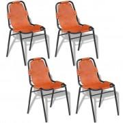 vidaXL Трапезни столове, 4 бр, кафяви, 59x44x89 см, естествена кожа