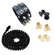 3 Pair of Mens Ear Studs (Need pearcing) 1 Black Ball Chain & 1 Cuff Bracelet Black For Boys