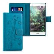 kwmobile Flipové pouzdro s designem motýl pro Huawei P8 Lite - tmavě modrá