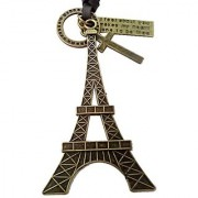 Antique Vintage Men's Jewellery Adjustable Pendant Necklace Men unisex Long Brown Leather Chain Eiffel Tower Style CodenM-8770