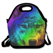 Colorful Wolf Lunch Tote Bag Zipper Reusable Tote Handbag With Shoulder Strap