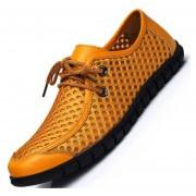 E-Thinker- Ecocuero Genuino Moda Hombres Zapatos Casuales -Amarillo