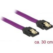 Kabel DELOCK, interni SATA, 6Gb/s, 30cm, Premium, metalne kopče, ljubičasti