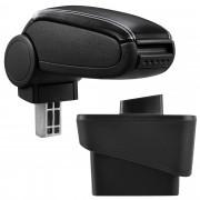Подлакътник [pro.tec]® Audi A1 (8X) с контейнер за съхранение Изкуствена кожа, Черен с бял шев