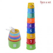 Eshylala A Set of Stacking Cup Baby Stack Up Cups Toys with Figures Letters for Baby Early Educational