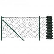 Комплект оградна мрежа с колове и клинове 15 x 1,25m, Стоманена с PVC покритие, Зелена