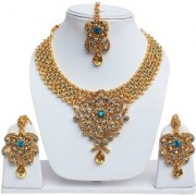 Lucky Jewellery Designer Golden Rama Green Color Gold Plated Stone Necklace Set For Girls & Women
