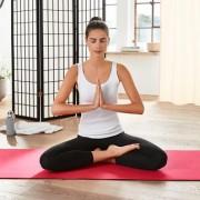 mantrafant Guru Elite Yogamatte und Pilatesmatte, schwarz/rot, inkl. Tragetasche, 183 x 68 x 0,6 cm