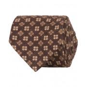 Drake's Wool Light Flannel Printed Flower 8 cm Tie Brown
