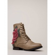 CheapChic Grow Wild Embroidered Lace-up Boots Taupe