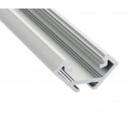 Alumínium sarok profil LED szalaghoz , 1 méter/db , ezüst eloxált , VÍZTISZTA fedővel , CORNER ELOX