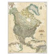 Wandkaart Noord Amerika, politiek & antiek, 60 x 78 cm   National Geographic