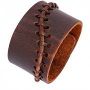 The Jewelbox Casual Wear 100 Genuine Dark Brown Handcrafted Leather Adjustable Wrist Band Strap Biker Bracelet Boys Men
