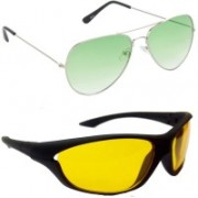 Hrinkar Aviator Sunglasses(Green, Yellow)