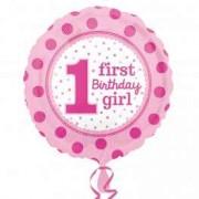 Balon folie 1st Birthday Girl buline